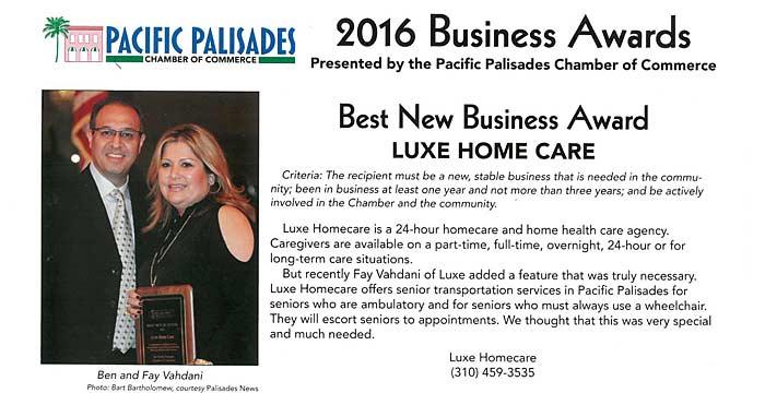 Pacific Palisades Chamber Award